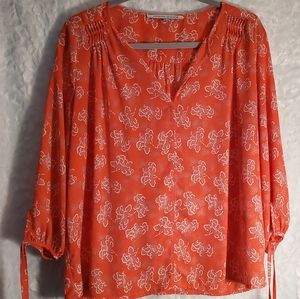 Collective Concepts Orange/Coral Size L Blouse